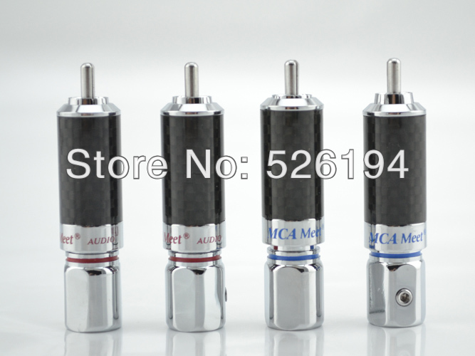 Free shipping 4pcs/lots 4Pc Viborg Rhodium Plated Carbon Fiber RCA Connector Plug Phono jack wbt 0152 ag nextgen silver rca phono plugs pack of 4pcs free shipping