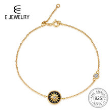E Jewelry 18K Gold Plated 925 Sterling Silver Star Charm Chain Bracelets for Women Link Bracelet cubic zircon