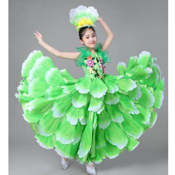 5fbfceab6 Los niños españoles trajes de bailarina Sexy baile Flamenco vestido trajes  del funcionamiento de la muchacha flores salón 360 grados