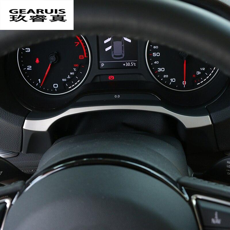 Per Audi A3 8 V Berlina Hatchback 2013-2016 Car Chrome In Acciaio Inox Cruscotto Assetto Decorazione Anello Con Adesivi accessori