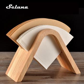 Ręczny filtr do przelewowego zaparzania kawy uchwyt na papier stojak do przechowywania V60 dekoracyjny stożek filtr do kawy pojemnik blat dozownik stojak tanie i dobre opinie seluna CN (pochodzenie) BAMBOO Dwuczęściowy zestaw coffee filter holder Banmboo wood Minimalism