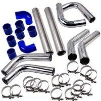 Universal 2.5 Aluminum 8PCS Turbo Intercooler Piping Pipe Kits+Clamp Chrome