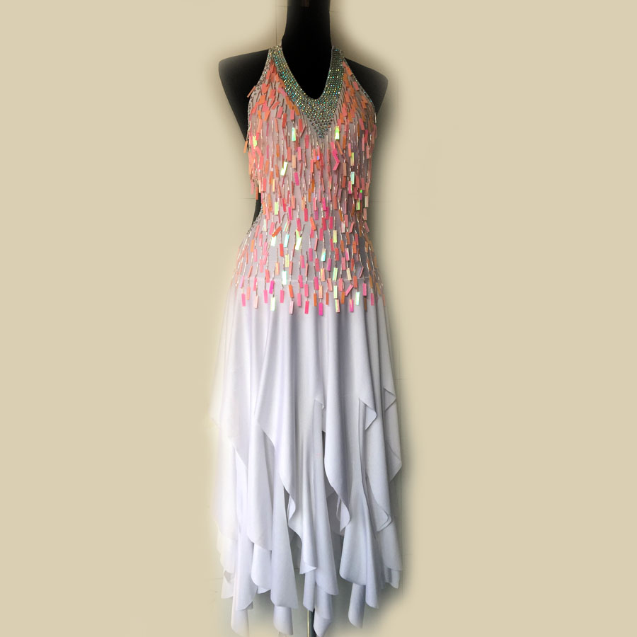 New Latin Dance Costume Sexy Senior Sequins Tassel Latin Dance Dress For Women Latin Dance Competition Dresses S-4XL LD-53