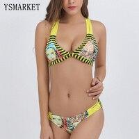Nieuwe Gestreepte Backless Lage Taille Bikini Set Persoonlijkheid Strand Badpak Sexy Vrouwen Hoofd 3D Prints Thongs Biquini Beachwear Q1705