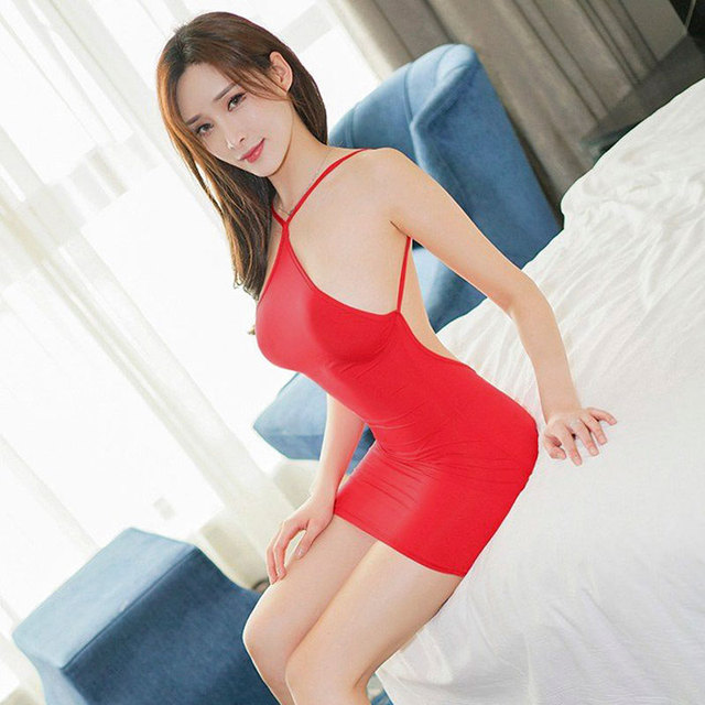 Sexy Women Strap Backless Tight Pencil Cute Dress Ice Silk Smooth See Through Micro Mini Dress Bandage Dress With G-string F9 1