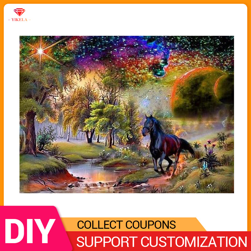 5D Diy Cross Stitch Embroidery Crystal Diamond Mosaic Forest Landscape Horse River Tree Full Square Round Drill painting in Diamond Painting Cross Stitch from Home Garden