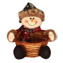 HAICAR Милая Рождественская корзина для хранения конфет бамбуковая Рождественская подарочная корзина с держателем креативное Рождественское украшение корзина Санта-Клауса