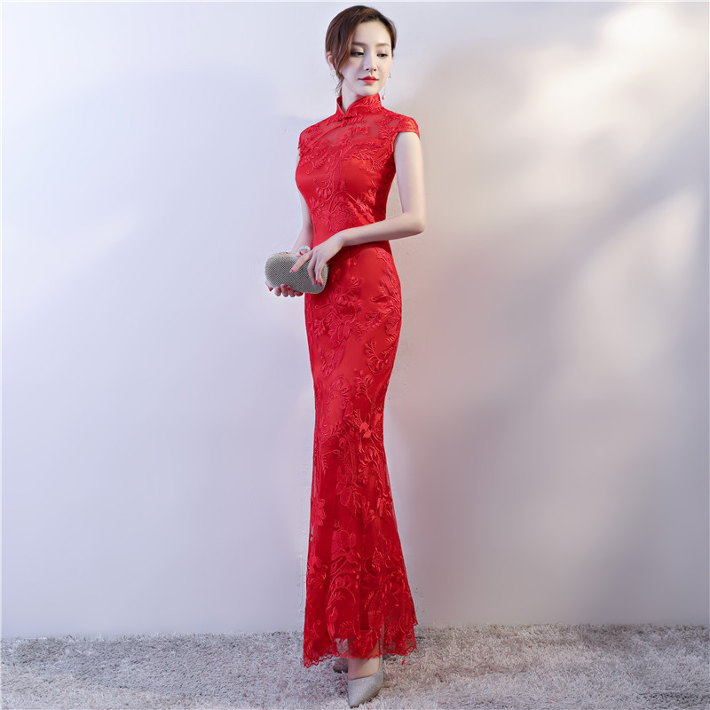 Chinese Wedding Dress For Women Lace Fishtail Red Bride Dress Long Cheongsam For Evening Party Lady Vintga Chinese Qipao