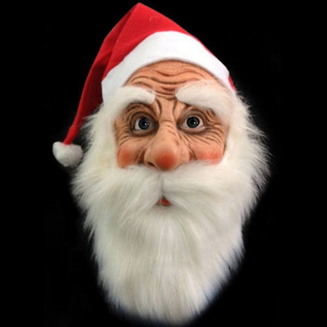 Funny Gag Toy Mask Santa Claus Wig Beard Costume Soft Realistic Full Face  Mask Christmas Cosplay