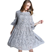 Flowy Flared Oversize Babydoll Lace Dress Plus Size Women Clothing Three Quarter Sleeve Midi Dresses Grey