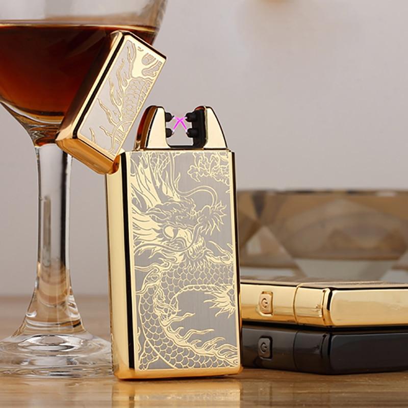 Cigarette Lighter Windproof Metal Electric Double Arc Lighter Electric Plasma Pulse USB Rechargeable Cigar Smoking Lighter