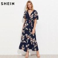 SheIn Flutter Sleeve Surplice Wrap Dress Casual A Line Summer Maxi Dress Navy Half Sleeve V