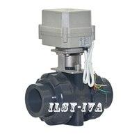 AC110~230V DN15,DN20,DN25,DN32,DN40,DN50 Plastic automated ball valve,2 way motorized water valve with signal feedback