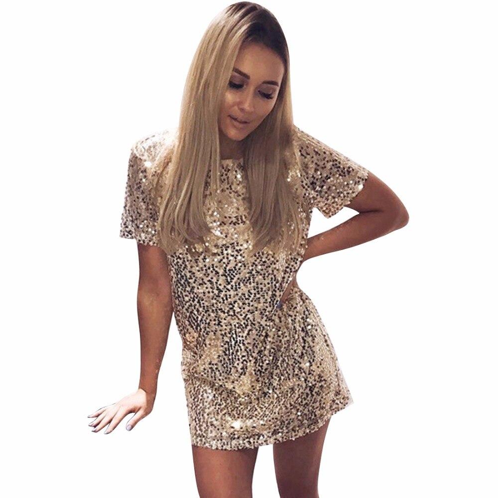 Short Sleeve Solid Sequins Dress Women Stylish Black Pink Gold Office Dress 2017 New Slim Mini ...