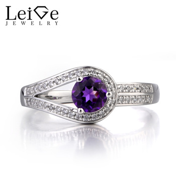 Leige Jewelry Natural Amethyst Ring Wedding Ring February Birthstone Purple Gems Round Cut Gemstone 925 Sterling Silver Ring