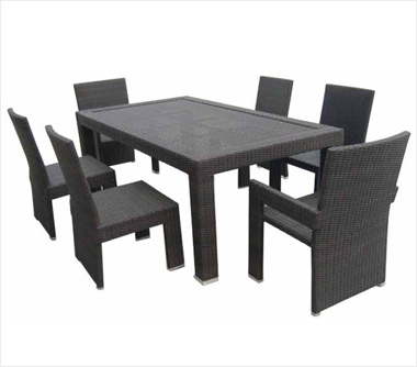 outdoor wicker patio furniture dining table set with 6 chairs