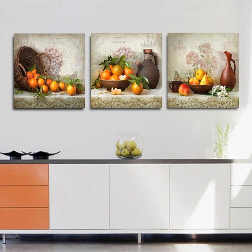 US $9.3 49% di SCONTO 3 Pezzi Da Cucina Frutta Immagini Pitture Murali a  Olio Su Tela Stampa Pittura Calligrafia Modulare Su Quadri Moderni Senza ...