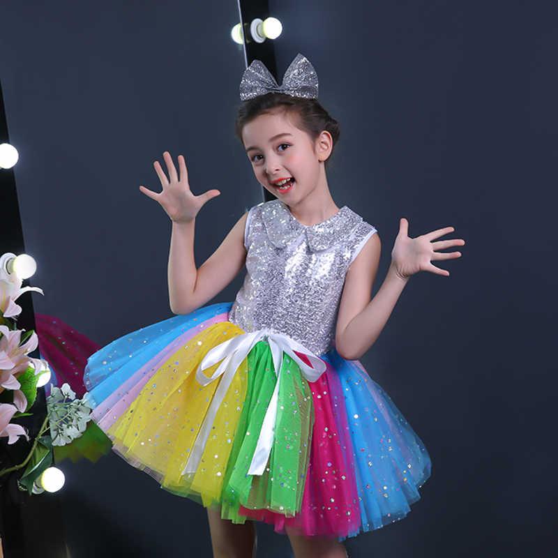 b33811fef52a ... Sequins Children Contemporary Princess Dress Puffy Dresses For Kids  Girls Modern Dance Performance Costume Rainbow Pettiskirt ...