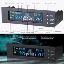 5.25 inch Computer Fan Controller PC Desktop Voorpaneel 3 CPU Temperatuur Sensor LCD Digitale Display Fan Speed Controller Nieuwe(China)