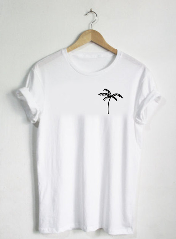 Palm Tree Shirt - Plant T-skjorte Pocket Shirt Unisex Herre eller Womans Shirt Cute Tee Enkel Grafisk Natur Tropical Ananas I-C016