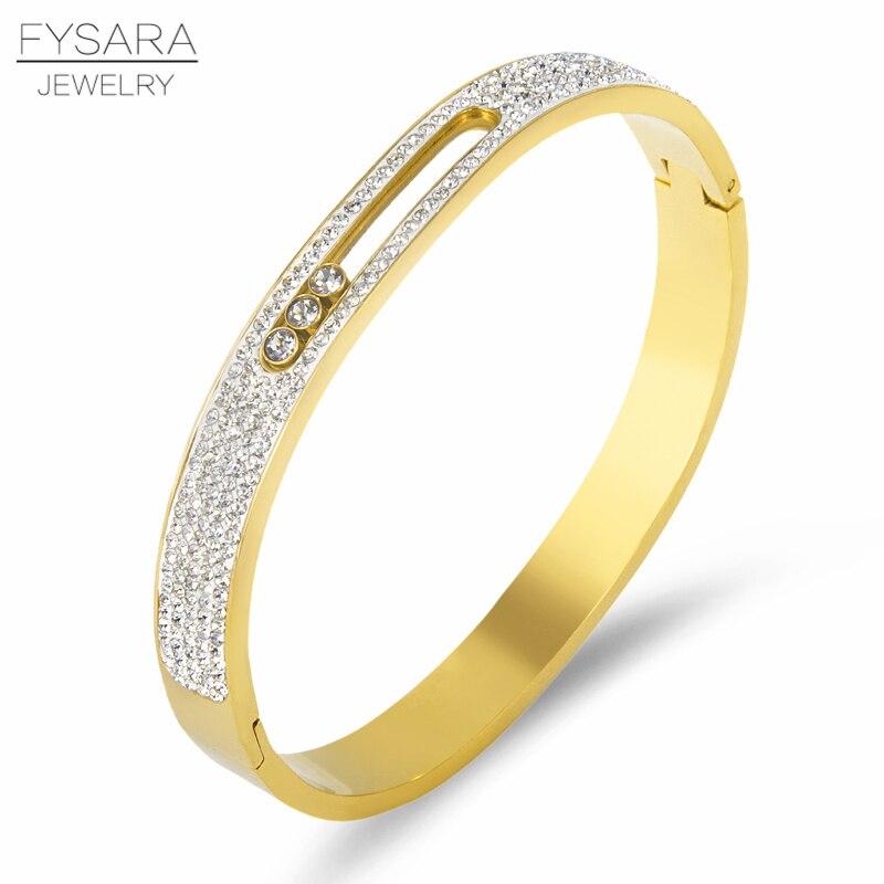 FYSARA Trois CZ Pierre Rotatif Bracelets Pour Femmes Glisser Amant Bracelet Plein Cristal Bracelets Bracelet De Luxe Marque U Boucle Bracelet