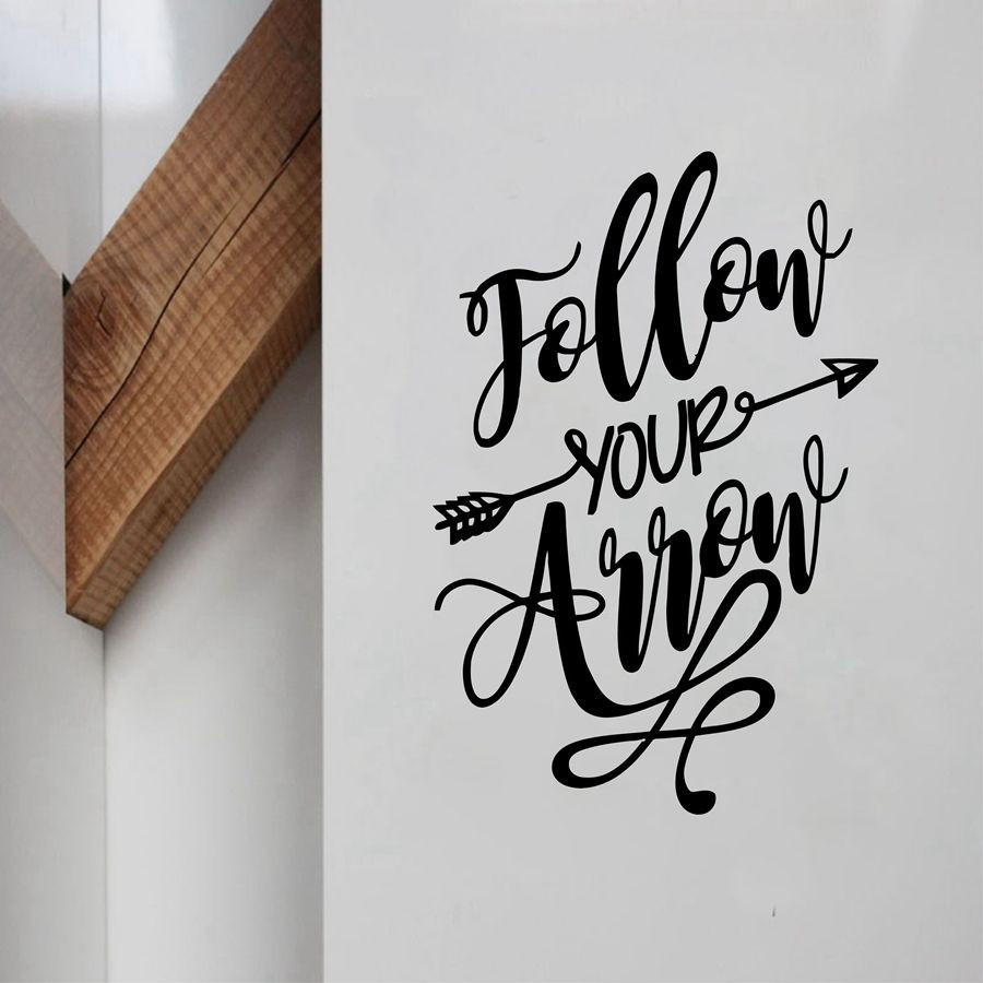 New arrival Follow your Arrow Childrens room Wall Sticker modern style letter Words Vinyl Art Decals For Kids Room Decorat