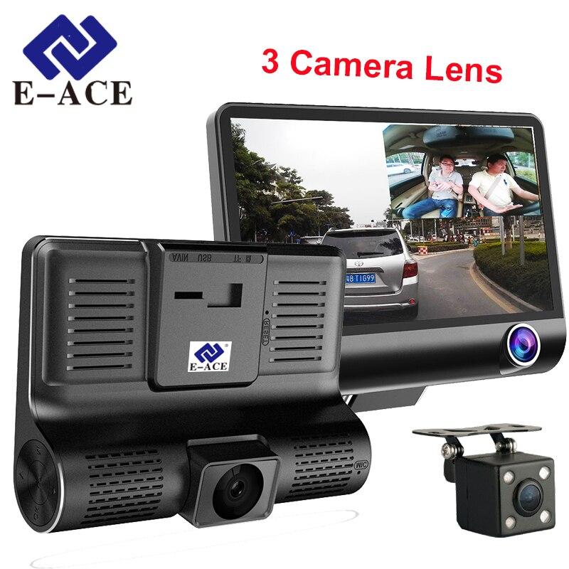 E-ACE 4,0 pulgadas Mini Dvr Dash cámara para coche cámara de Video de 3 en 1 Registro con cámara de visión trasera grabadora de Video espejo HD coche dvr