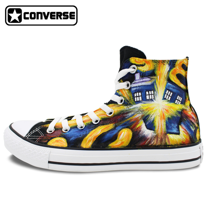 Athletic Sneakers Converse All Star Design Custom Hand Painted Police Box Canvas font b Shoes b