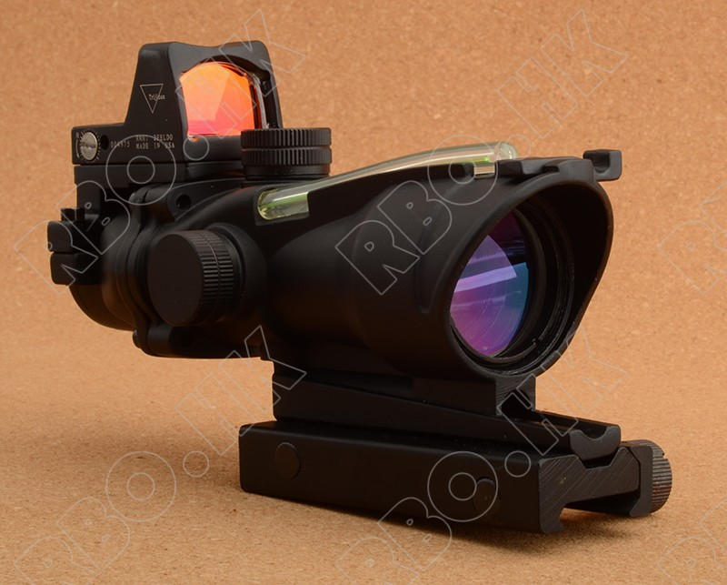 Tactical Trijicon acog style 4x32 Green Optical Fiber and Red Dot sight scope hunting shooting RBO M9986-2 tactical trijicon acog style 4x32 real fiber optics red illuminated crosshair scope w rmr micro red dot hunting riflescopes