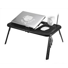 Portable Foldable Adjustable Laptop Desk TV Bed Computer Table Stand Tray Notebook Lap PC Folding Desk Table with Mouse with fan(China)