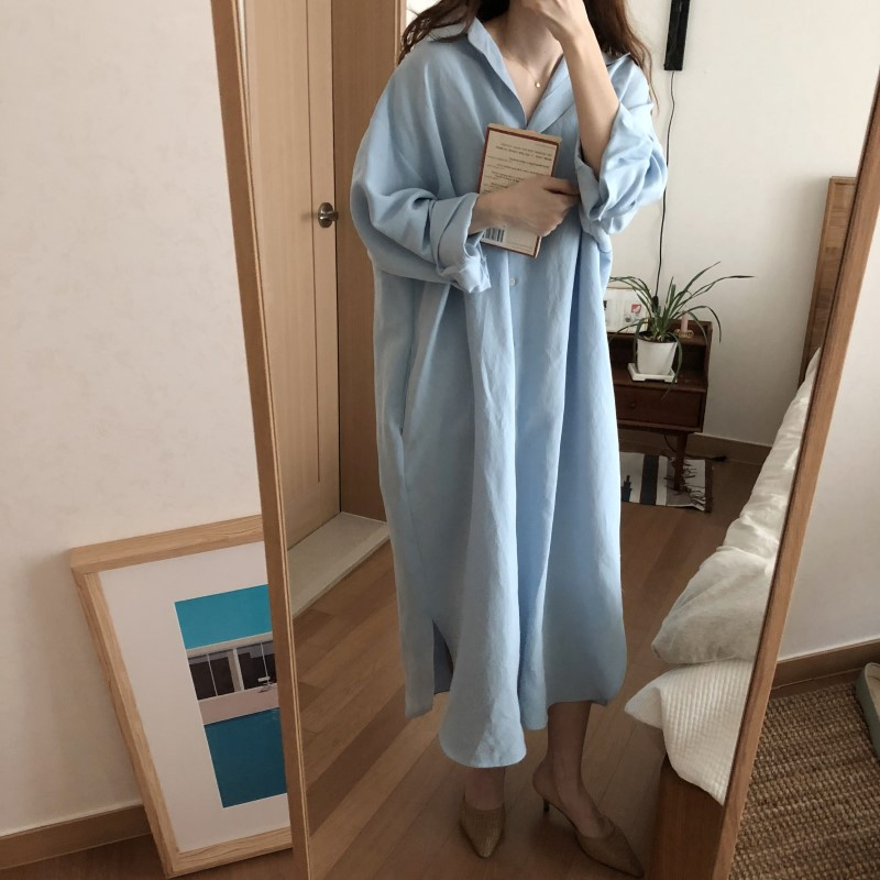 Blue Long Sleeve Long Shirt Dress Spring Casual Patchwork White cotton Dresses Collar Buttons Loose Dresses Robe Femme Vestido 32