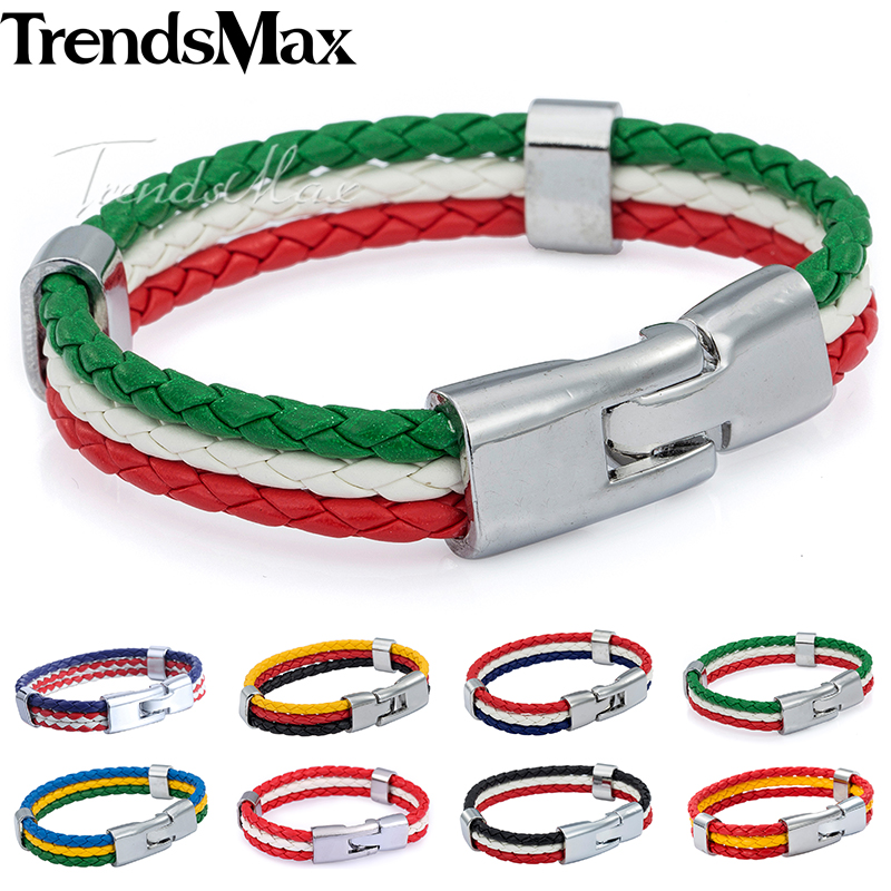 Trendsmax National Flag Italy ES DE RU Leather Bracelet for Men Women Rope Handmade Braided Wristband Jewelry LB141
