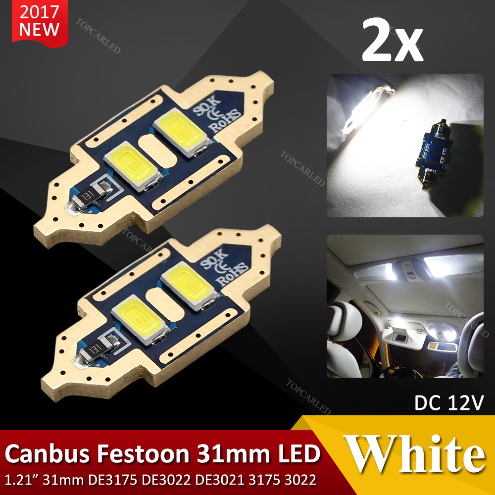 2pcs/lot 31mm Canbus 2 5630 SMD chip White Reading 12v led dome Bulb Car parking Auto Interior Panel Festoon Light 2pcs lot 36mm 5630 smd 6 led canbus error free led dome light bulbs car dome light white warm white festoon light