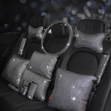 Fashion Rhinestones Crystal Car Seat belt cover pad Neck pillow Waist Support Steering wheel cover A