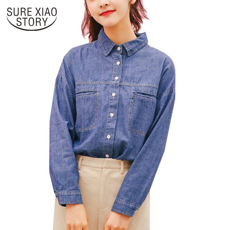 a9b96a6e7 Denim Moda Primavera Cuello 30 Blusas Nuevo De 2019 Mujer azul Cielo Manga  Azul Camisas Casual Botón Larga ...