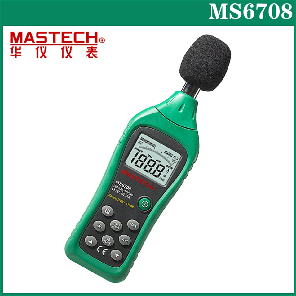 цена Hot MASTECH MS6708 Handheld LCD Digital Display 30dB ~ 130dB Digital Sound Level Meter Noise Meter DB Decibel Level Meter Tester