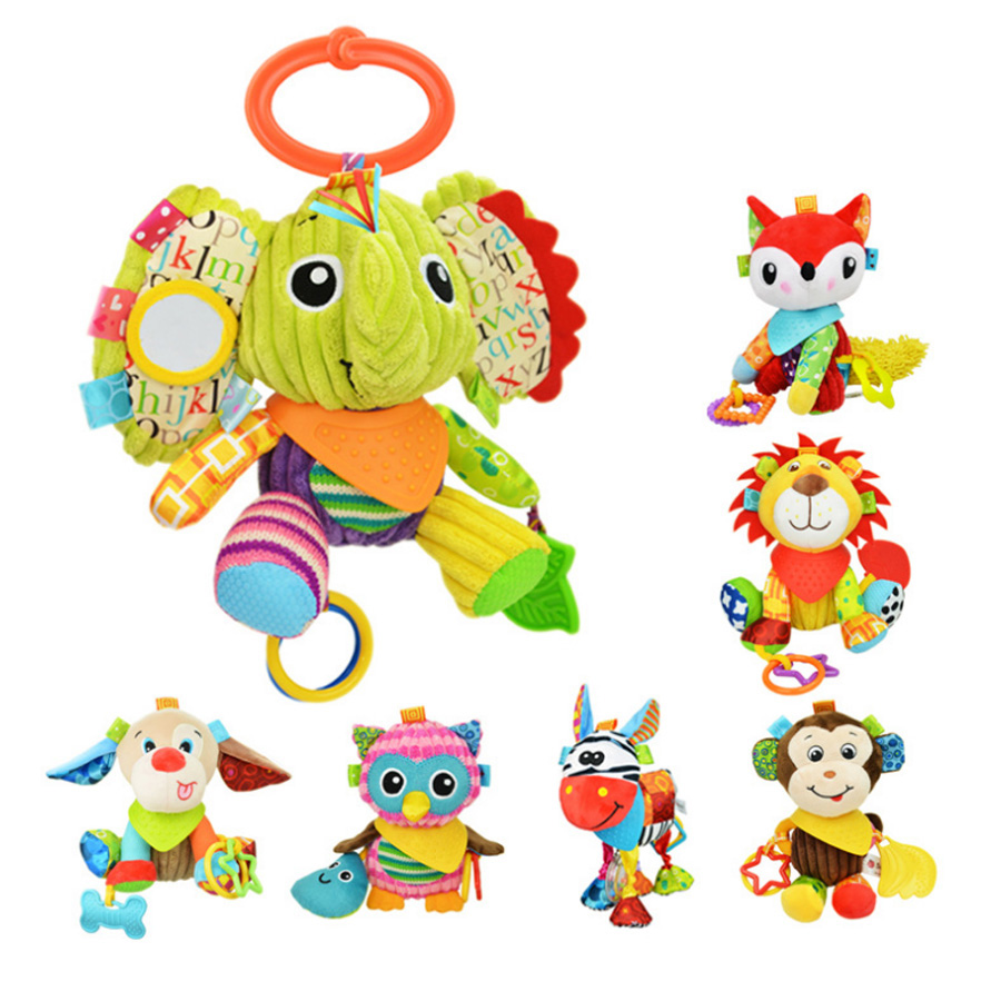 Colorful Multifunction Infant Animal Plush Toys Baby Sounds Paper and Teether Toy Stroller Appease for Newborn Pillow Doll Gifts