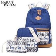 Mara' S мечта 2017 холст рюкзак женщины милый олень школьная сумка для подростков девочек элегантный дизайн композитный мешок Набор дорожный рюкзак
