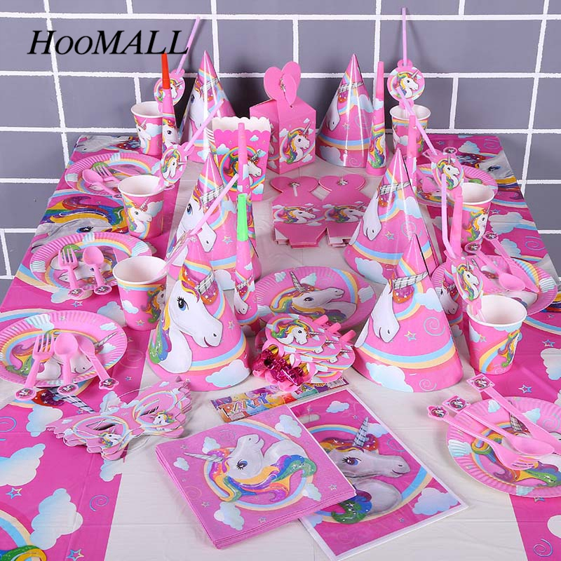 Hoomall Unicorn Party Theme Pony Party Supplies Sets Plate Cake Dish Pennants Tablecovers Birthday Party Decorations Kids