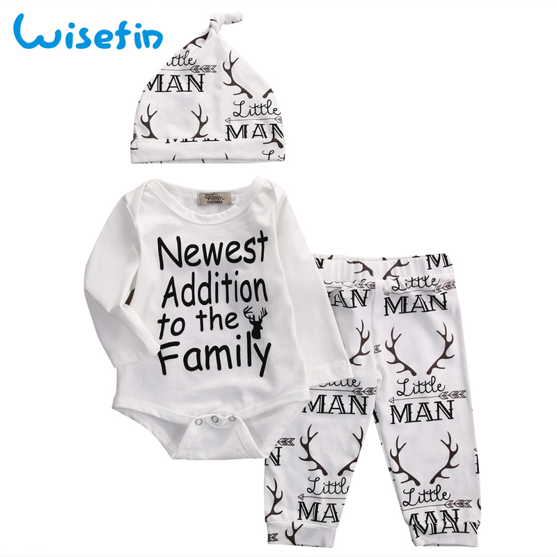 Wisefin Newborn Baby Outfits 3Pcs Print Baby Boys Girls Clothing Sets Bodysuits Antlers Hat+Pants+Rompers Autumn Clothing Set