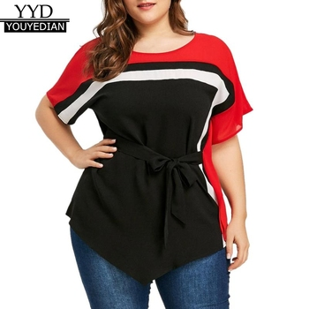 Plus Size 5XL Summer 2018 Womens Tops and Blouses Tunic Striped O Neck Short Sleeve Shirts Elegant Women Clothes with Belt