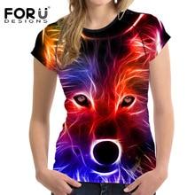 FORUDESIGNS 3D Wolf Printing Women T Shirt 2017 Woman Bodybuilding T-shirt Crop Tops Animal Elastic Casual Short Shirts For Girl