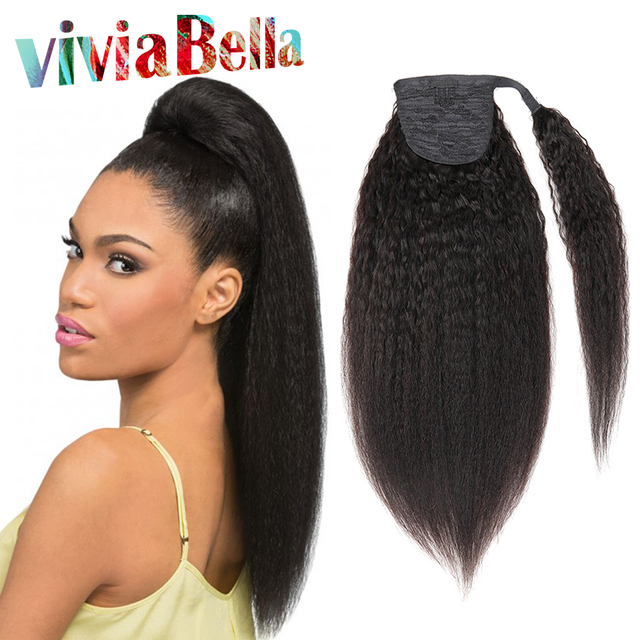 Kinky Droite Queue de Cheval de Cheveux Humains