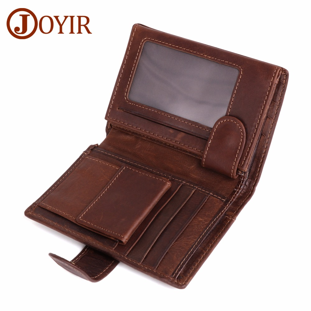 JOYIR Vintage Men Wallet Genuine Leather Short Wallet With Card Holder Male Multifunctional Cowhide Purse Coin Pocket Purse RFID men wallet male cowhide genuine leather purse money clutch card holder coin short crazy horse photo fashion 2017 male wallets