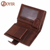 JOYIR Vintage Men Wallet Genuine Leather Short Wallet With Card Holder Male Multifunctional Cowhide Purse Coin Pocket Purse RFID