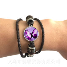 New Beautiful Purple Butterfly Bracelet Art Picture 20mm Glass Cabochon Dome Black/Brown 2 Color Leather Cords Adjustable Bangle(China)