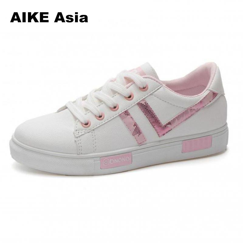2018 women shoes fashion casual platform striped PU leather classic cotton women casual lace-up white shoes sneakers zapatos striped grommet lace up dropped shoulder top