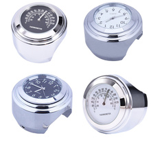 "1 Pcs Universal 1"" Chrome Waterproof 7/8 Motorcycle Handlebar Mount Temp Thermometer Clock Watch Motorcycles Accessories"