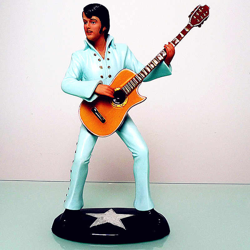 Elvis Presley Guitar Statue Famous Music Figure Resin Craftwork Show Window Living Room Decoration Musician Souvenir L2733