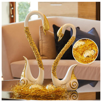 Modern Resin Romantic Couple Swan Ornaments Home Livingroom Office Bar Figurines Crafts Decoration New Wedding Girlfriends Gifts